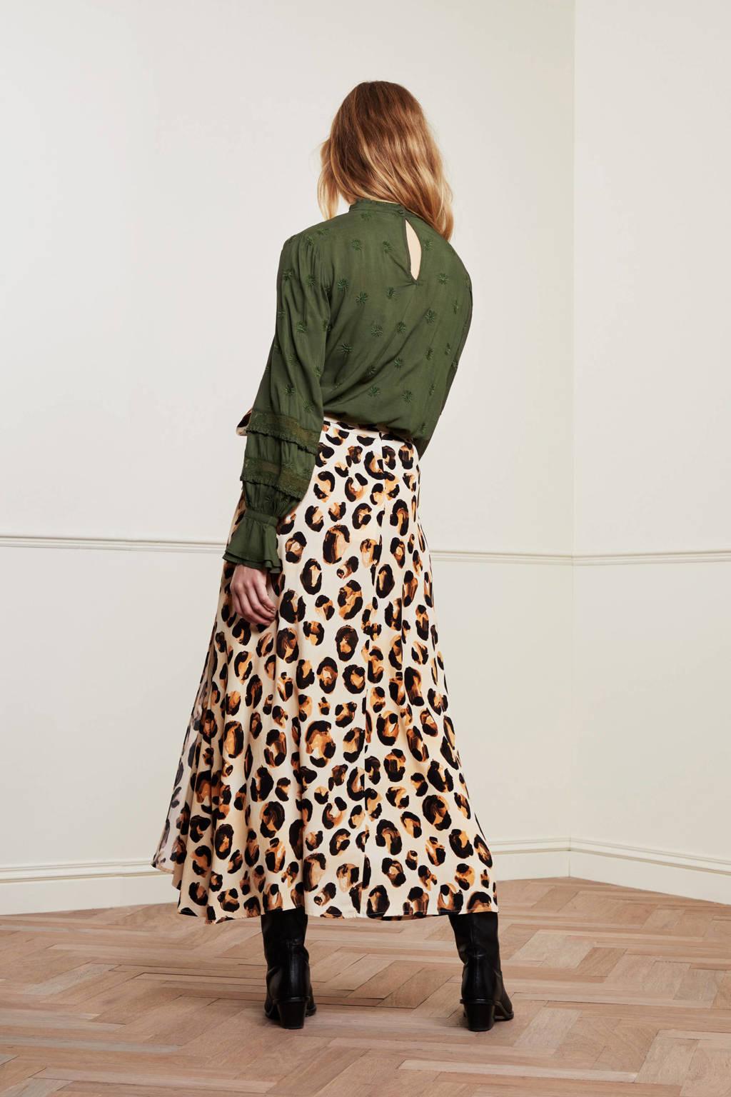 Fabienne Chapot rok Bobo met dierenprint lichtgeel/bruin/zwart, Lichtgeel/bruin/zwart
