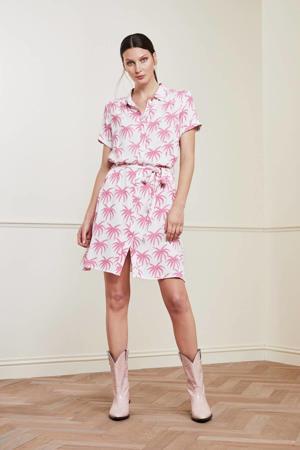blousejurk Boyfriend Cara met all over print en ceintuur gebroken wit/ roze