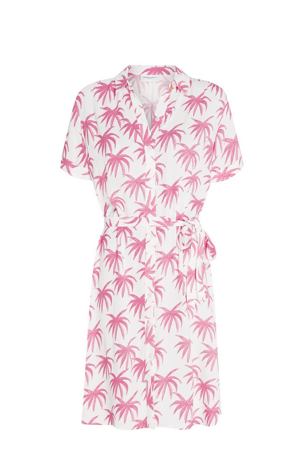 Fabienne Chapot blousejurk Boyfriend Cara met all over print en ceintuur gebroken wit/ roze, Gebroken wit/ roze
