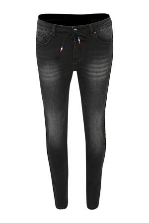 slim fit jeans met zijstreep en sierstenen zwart