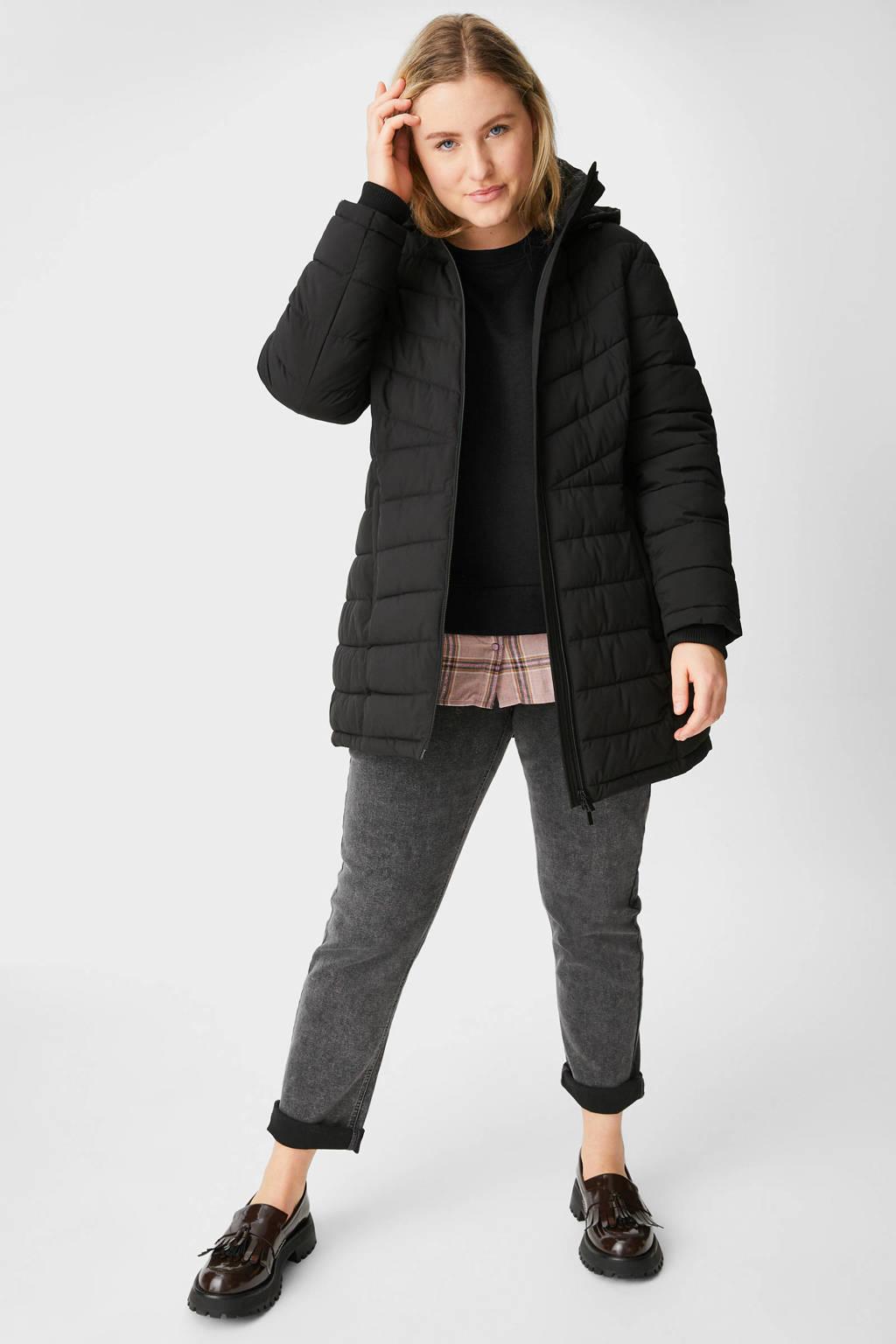 C&A XL Yessica sweater met bijpassende blouseverlening zwart/lichtroze/oranje, Zwart/lichtroze/oranje