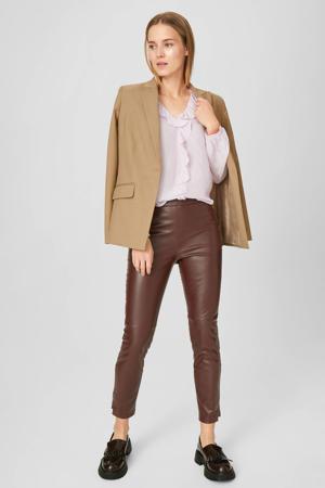coated slim fit broek bruin