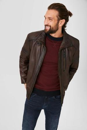trui roodbruin/grijs