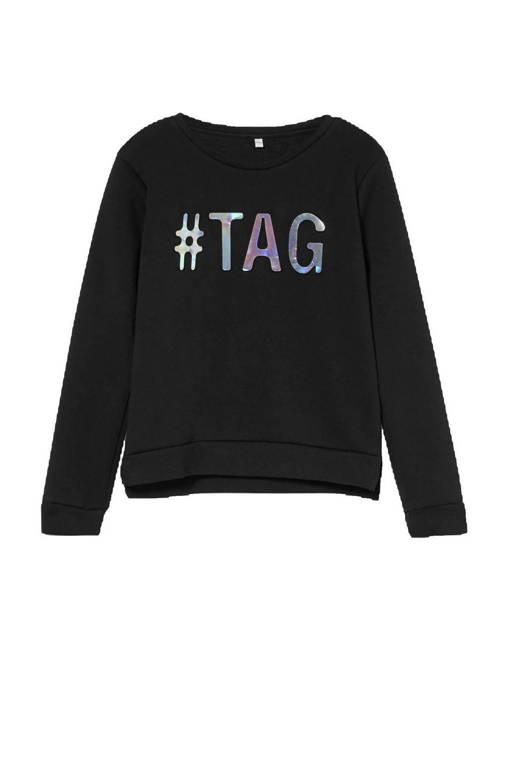 C&A Here & There sweater met tekst zwart/zilver, Zwart/zilver