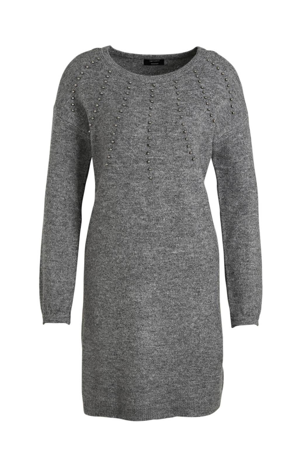 C&A Yessica gemêleerde fijngebreide jurk grijs, Grijs