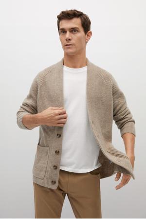 ribgebreid vest met wol beige