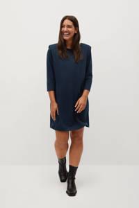 Violeta by Mango jurk marine met schoudervulling, Marine