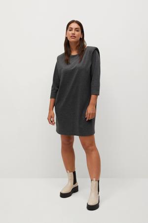jurk grijs melange met schoudervulling
