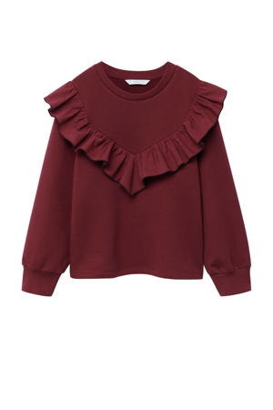 sweater met ruches donkerrood