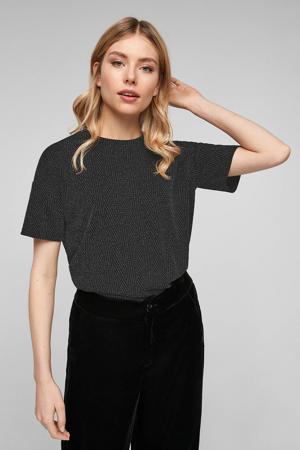 fijngebreid T-shirt met visgraat en glitters antraciet/zwart
