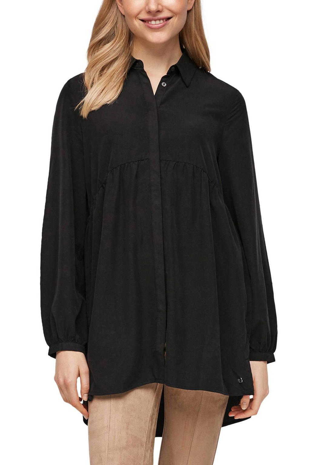 s.Oliver blouse met plooien zwart, Zwart