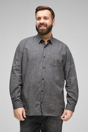 geruit regular fit overhemd grijs