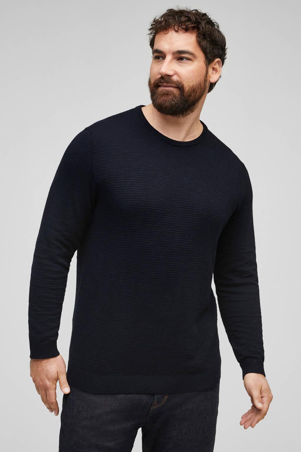 s.Oliver fijngebreide trui met textuur marine, Marine