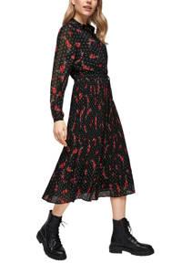 s.Oliver semi-transparante blousejurk met all over print en plooien zwart/rood/wit, Zwart/rood/wit