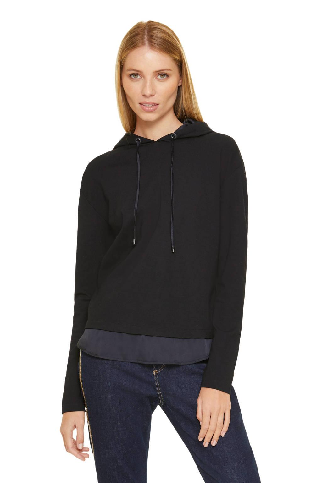 comma hoodie zwart, Zwart
