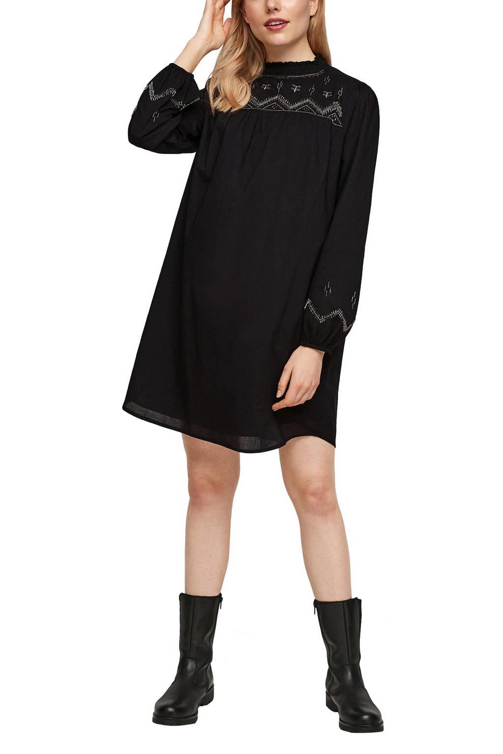 s.Oliver jurk met kraaltjes zwart, Zwart
