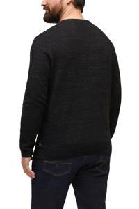 s.Oliver fijngebreide trui met textuur zwart, Zwart