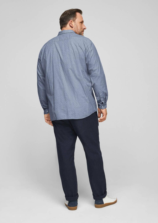s.Oliver regular fit overhemd met stippen blauw, Blauw