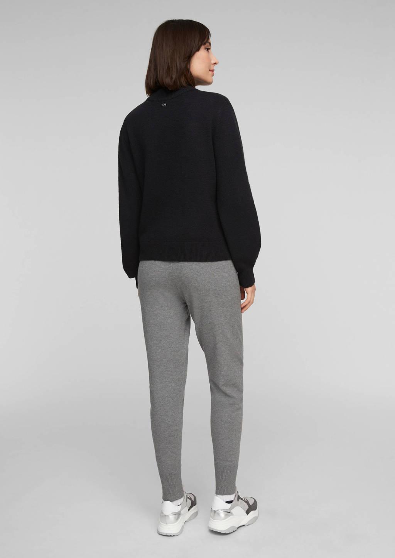s.Oliver fijngebreide trui met wol zwart, Zwart