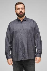 s.Oliver regular fit overhemd met stippen antraciet, Antraciet