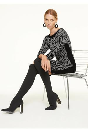 gebreide jurk met contrastbies en glitters zwart/grijs