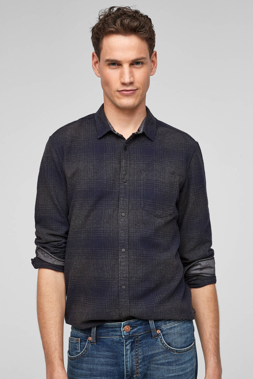 Q/S designed by geruit slim fit overhemd blauw, Blauw