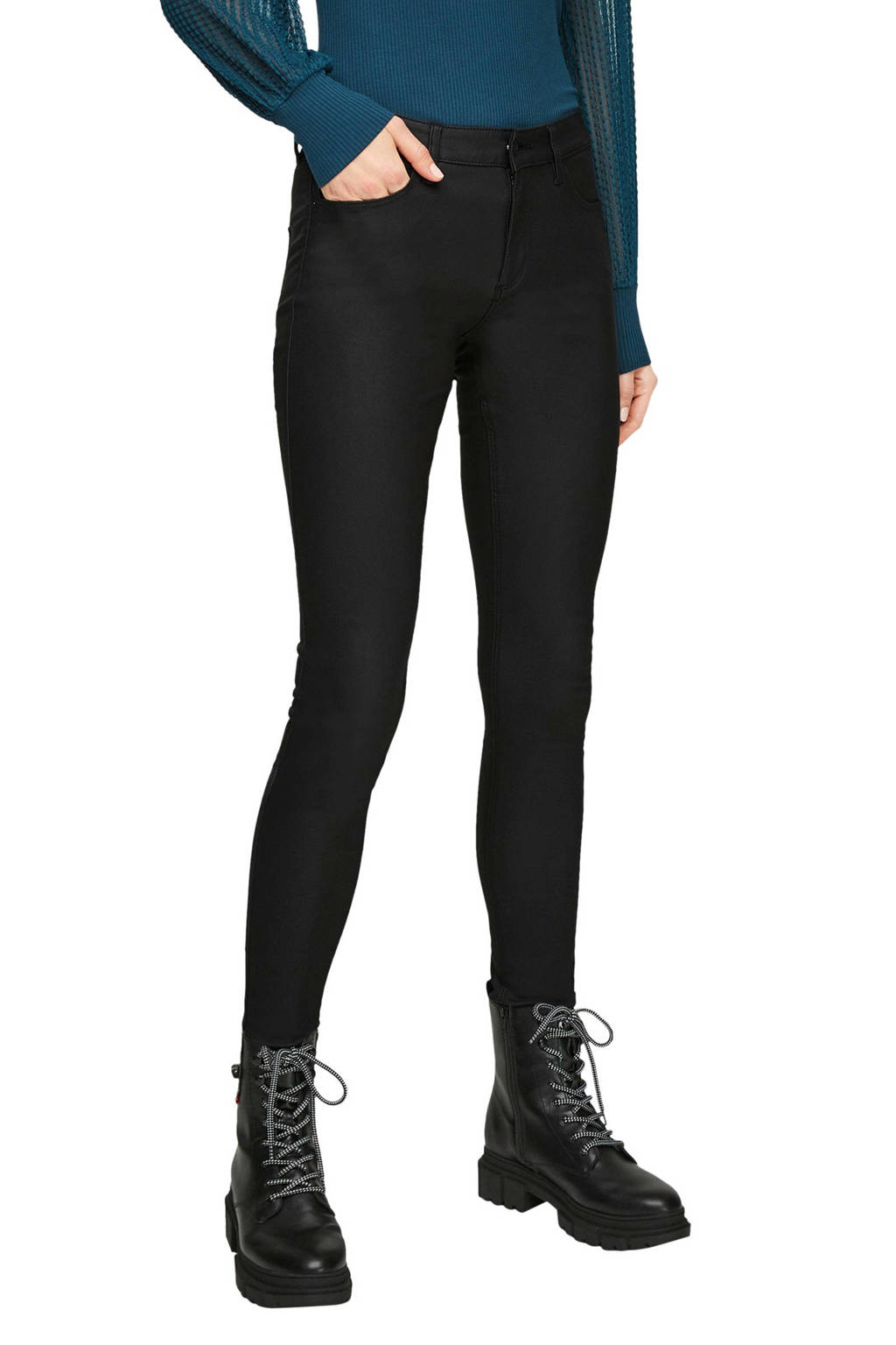 Q/S designed by coated skinny broek zwart, Zwart