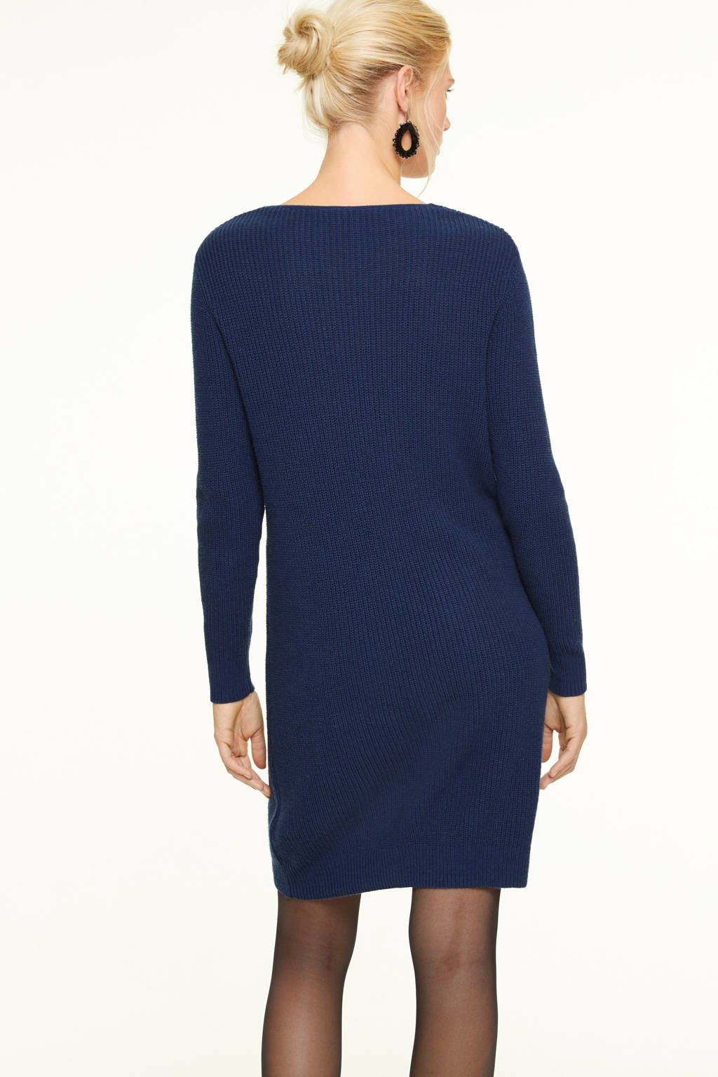 comma gebreide jurk donkerblauw, Donkerblauw