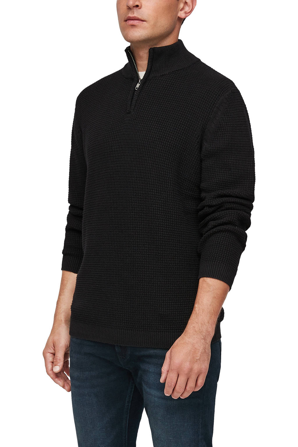 s.Oliver trui met textuur zwart, Zwart