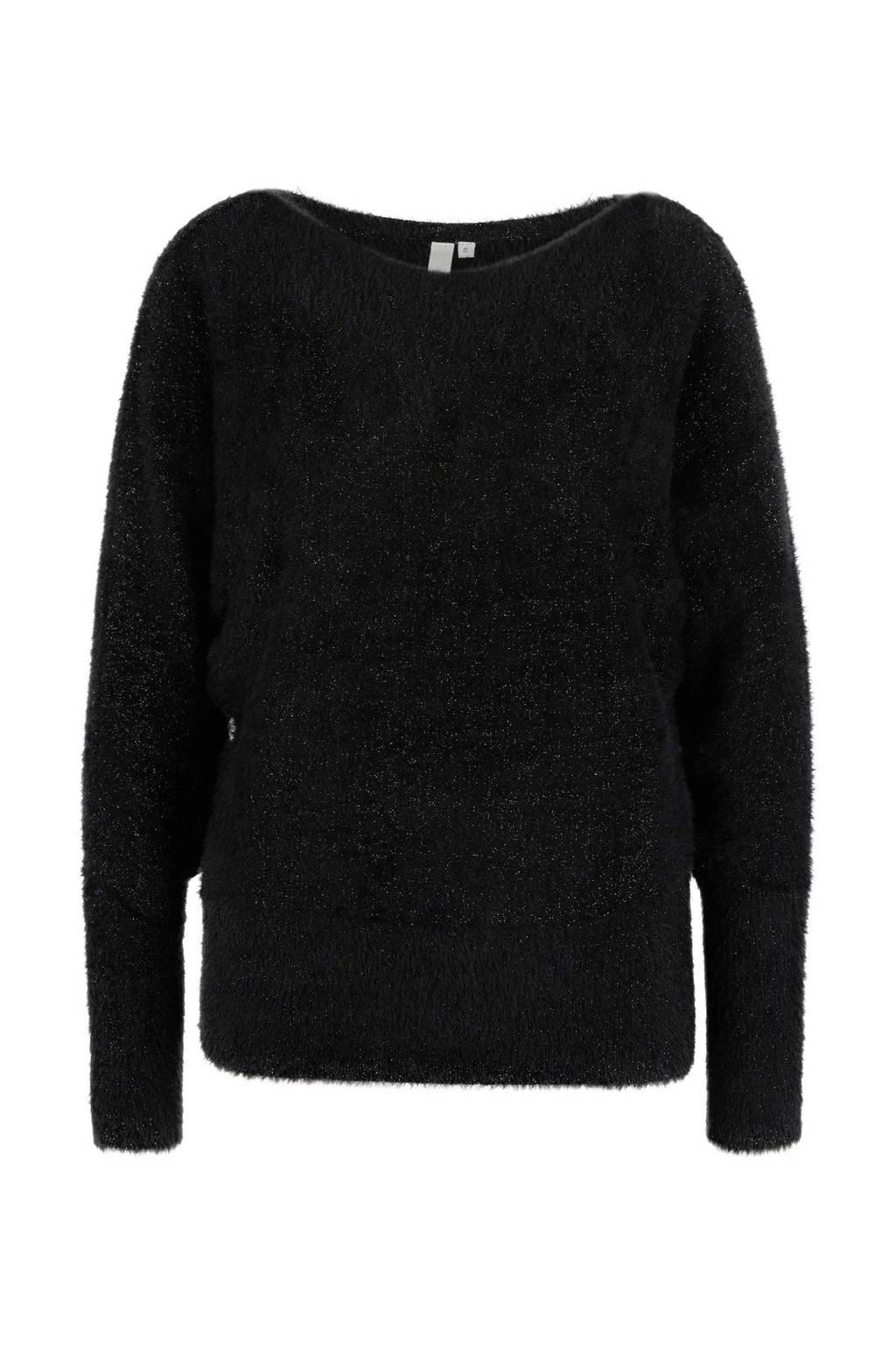 Q/S designed by gebreide trui met glitters zwart/zilver, Zwart/zilver