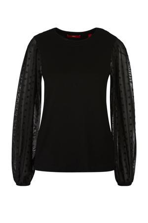 semi-transparante top zwart