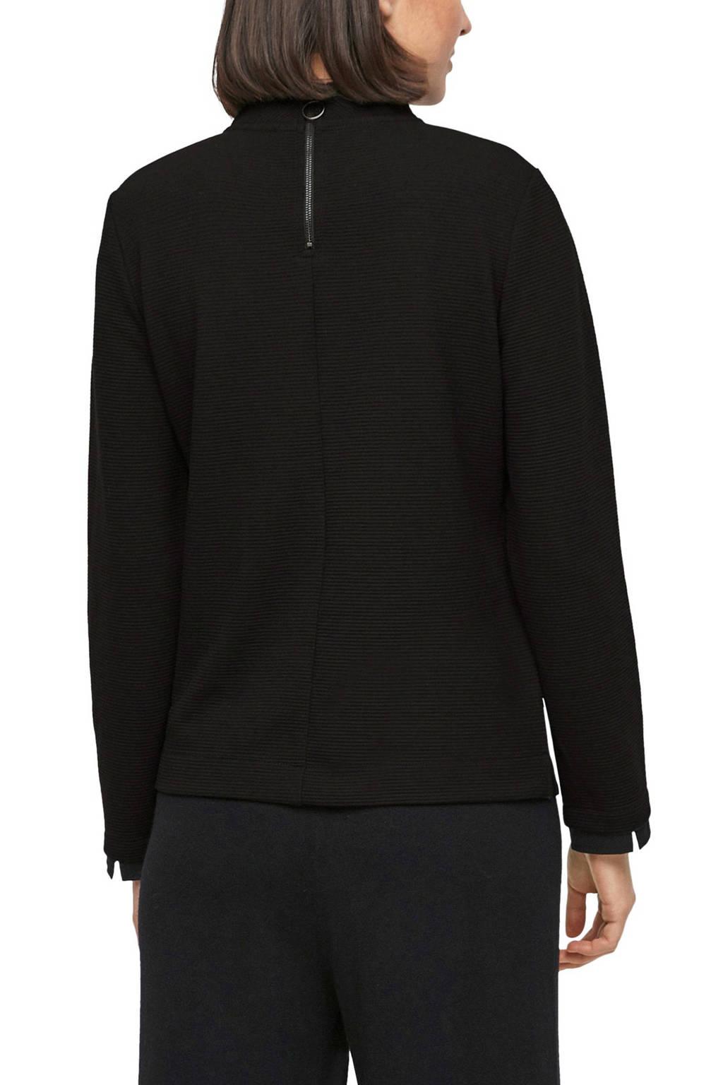 s.Oliver sweater met textuur zwart, Zwart