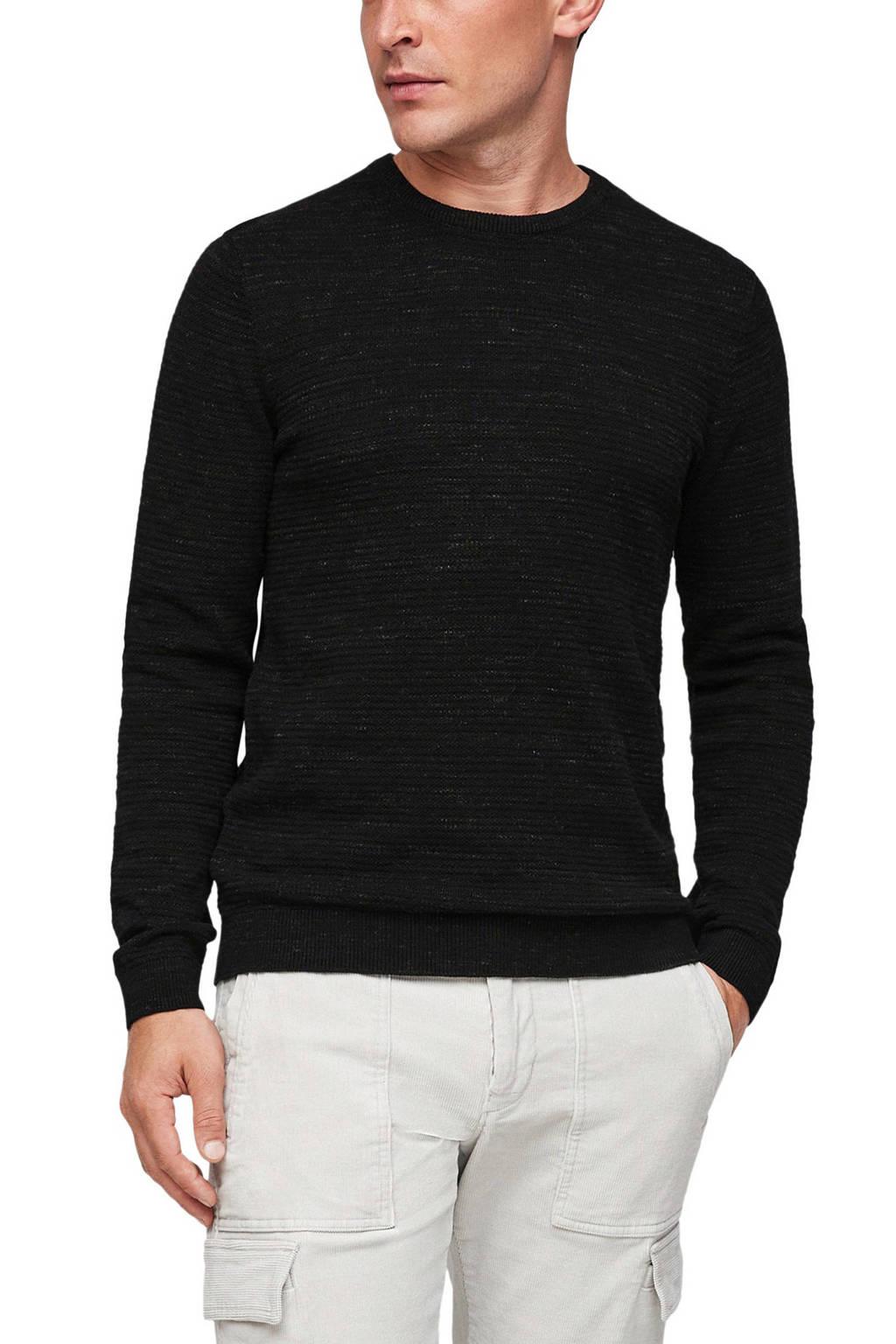 s.Oliver ribgebreide trui zwart, Zwart
