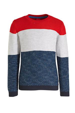 gebreide trui donkerblauw/wit/rood