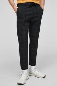 Q/S designed by geruite slim fit broek zwart, Zwart