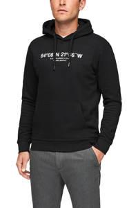 s.Oliver hoodie met printopdruk zwart, Zwart