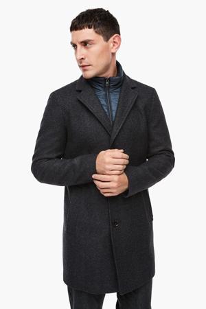 gemêleerde  jas met wol marine