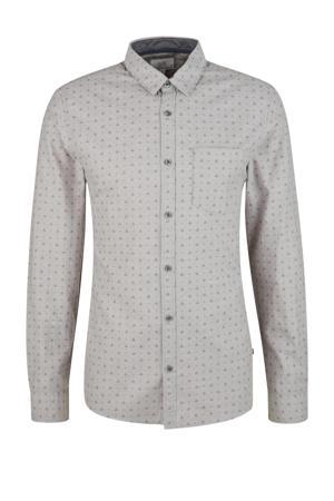 regular fit overhemd met all over print grijs