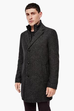 gemêleerde  jas met wol donkerbruin
