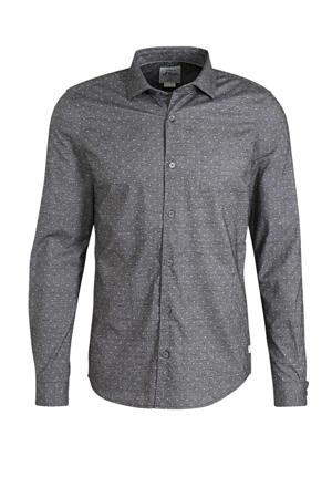 slim fit overhemd met stippen zwart