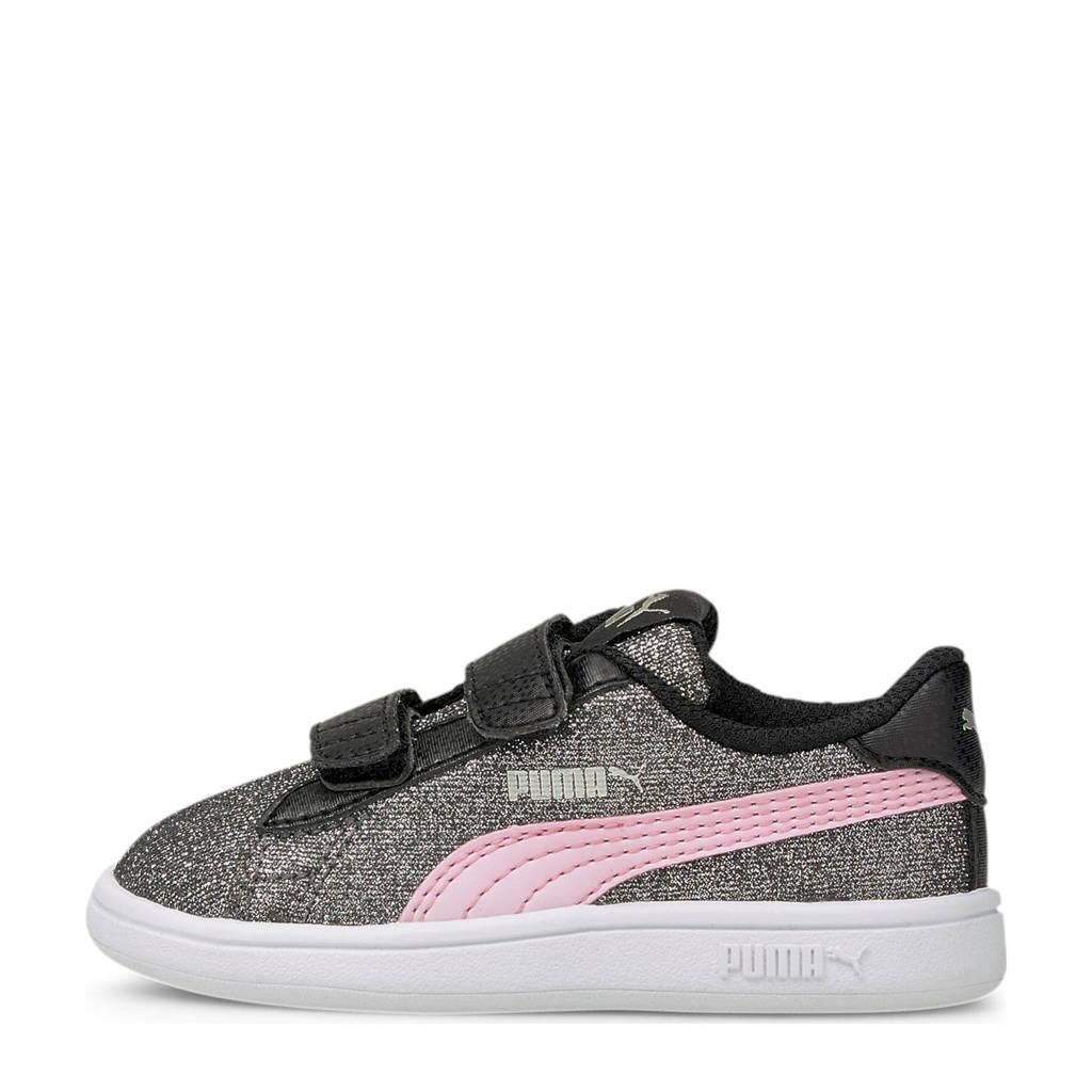 Puma Smash V2 Glitz Glam V Inf glitter sneakers zwart/roze, Zwart/roze