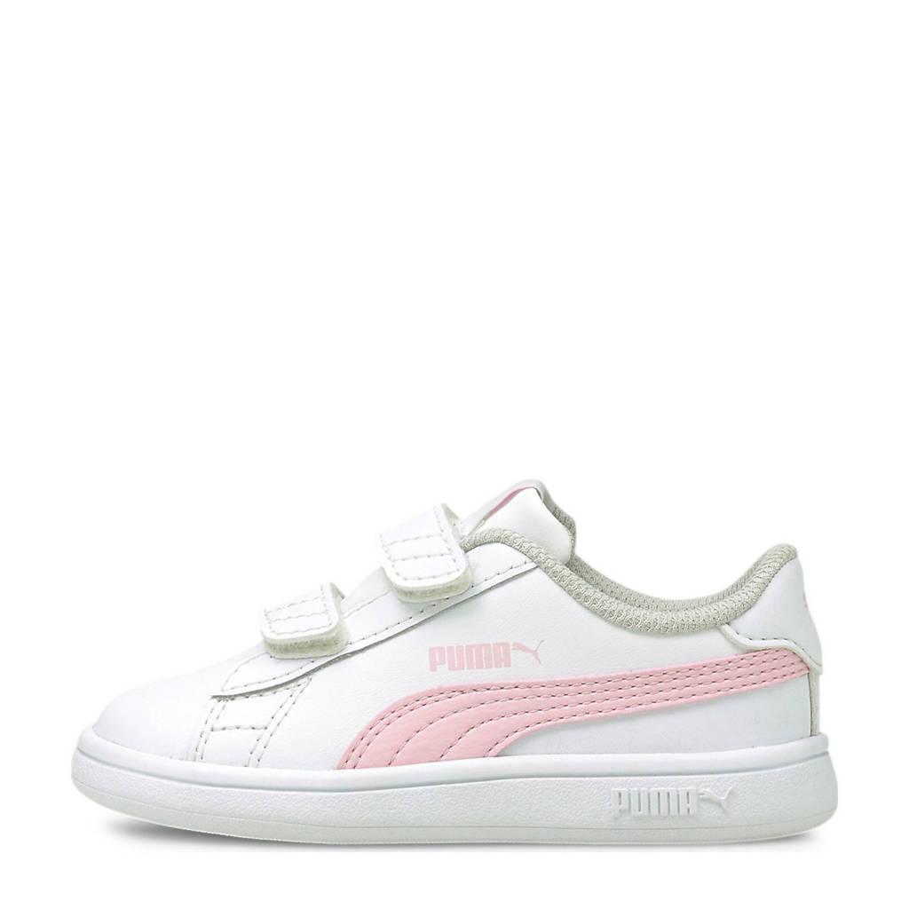 Puma Smash v2 L V Inf leren sneakers wit/roze, Wit/roze