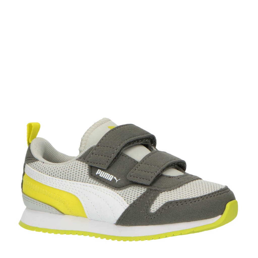 Puma R78 V PS sneakers donkerblauw/geel/grijs, Lichtgrijs/geel