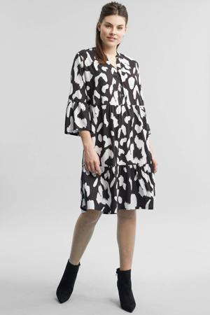 jurk met animal print zwart/ecru