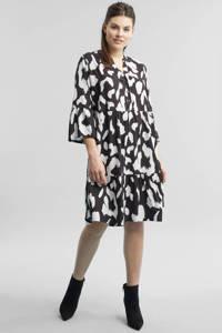 GREAT LOOKS jurk met animal print zwart en ecru, Zwart/ecru