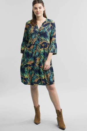 jurk met all-over print blauw en groen