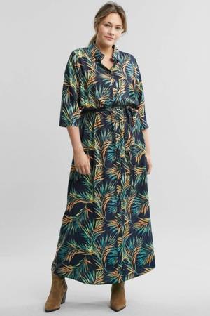 blousejurk met all-over print blauw en groen
