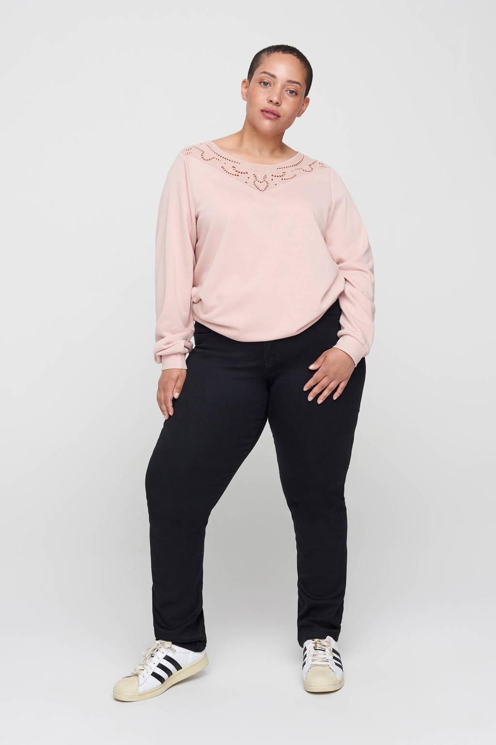 Zizzi sweater Mmemo met kant roze, Roze