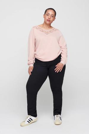 sweater Mmemo met kant roze