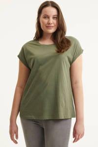 Zizzi T-shirt MKATJA olijfgroen, Olijfgroen